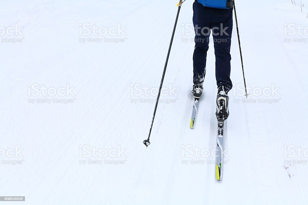 Partial view of a ski runner stock photo