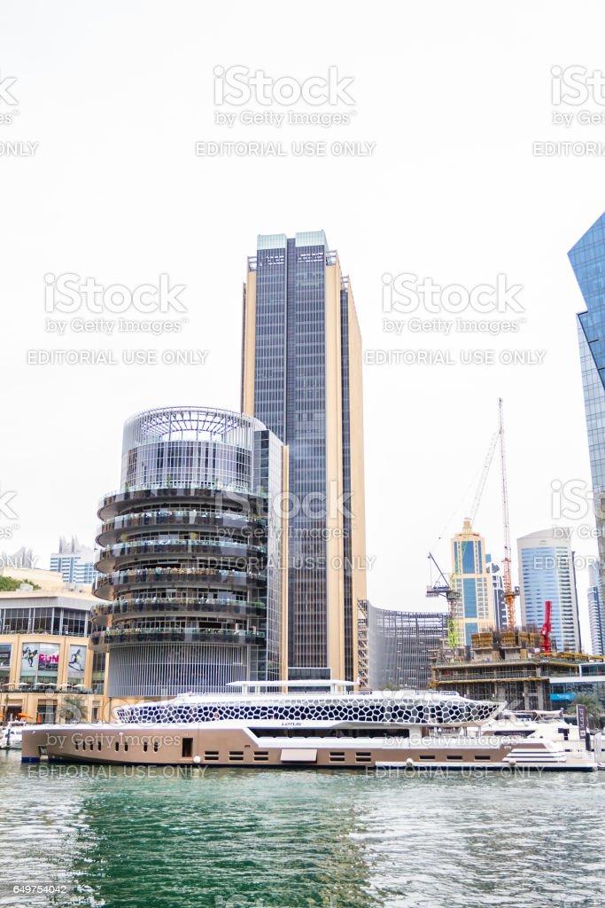 Partial view of Dubai Marina from promenade stock photo
