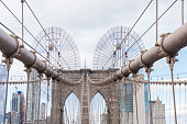 Partial view of the Brooklyn Bridge at Manhattan, New York City, USA.