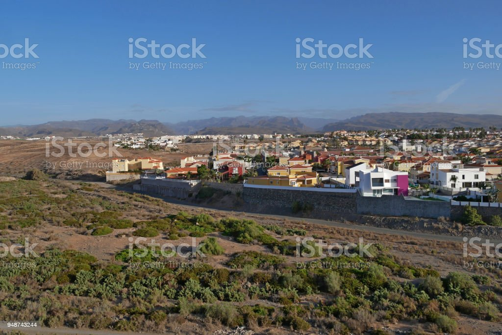 Partial view of the district of sonnenland, Playa of the Ingles on gran canaria, Spain stock photo