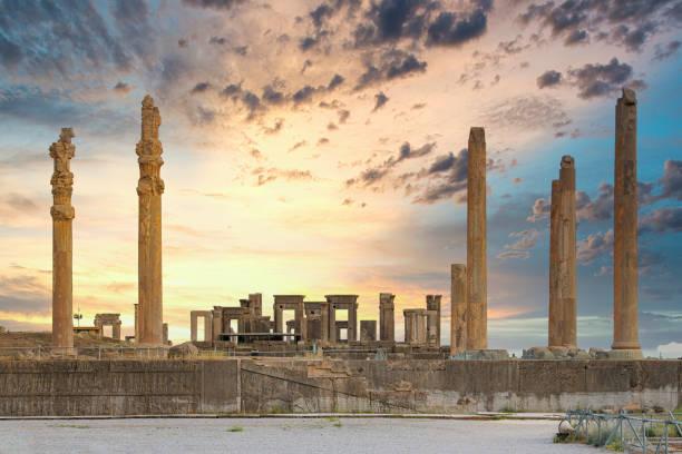 Partial view of the Persepolis ruins, Iran stock photo