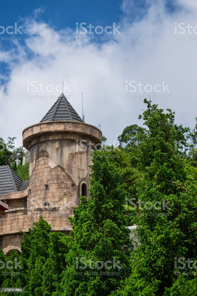 Partial view of the Resort with castles on fogs. stock photo