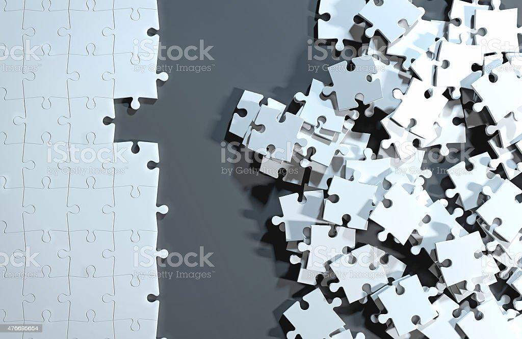Teilweis'ausgefüllte puzzle, eine Lösung zu Unordentlich Stücke - Lizenzfrei 2015 Stock-Foto