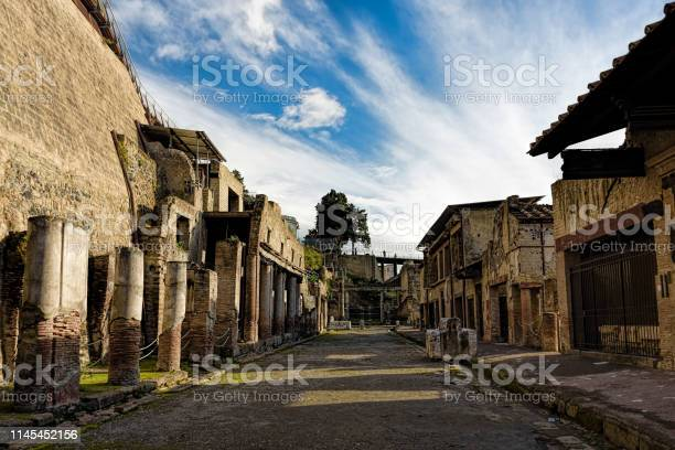 Photo of Partially excavated and restored ancient ruins of Herculaneum, Ercolano, Italy
