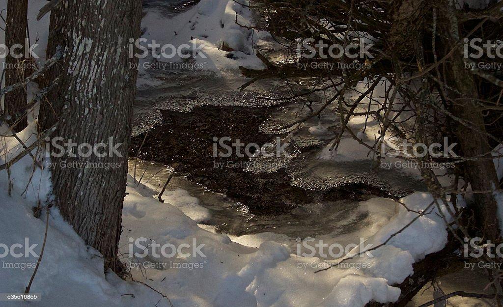Partially Frozen Creek stock photo