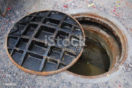 istock Open Manhole 116849702