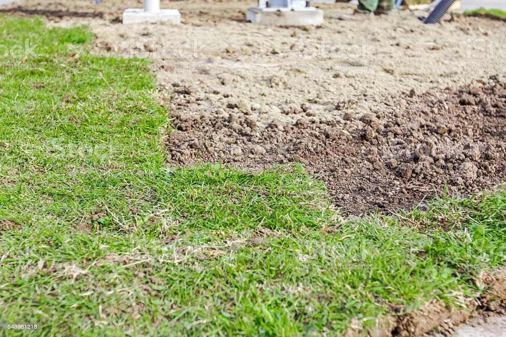 Partially placed sod for new lawn, unrolling grass stock photo