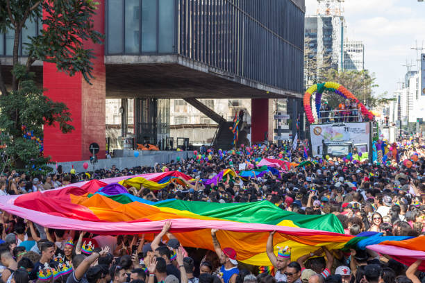 Participants at Pride Parade in Sao Paulo to support LGBT rights stock photo