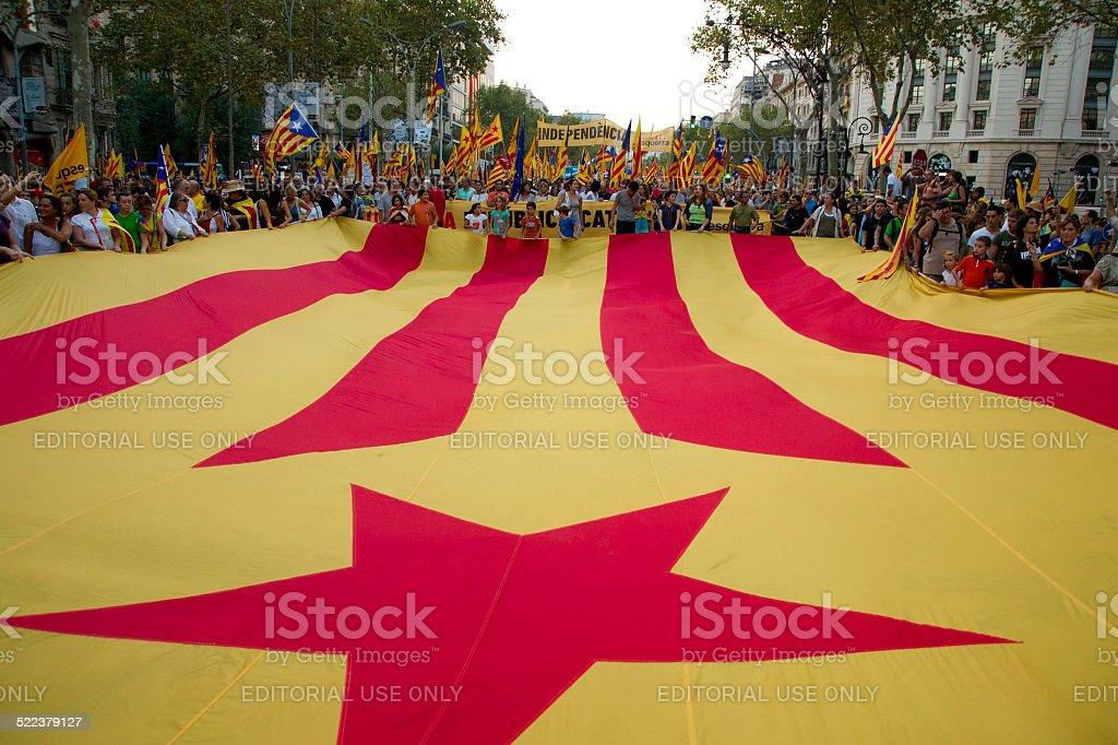Teilnehmer in der Versammlung für die Unabhängigkeit Kataloniens Lizenzfreies stock-foto