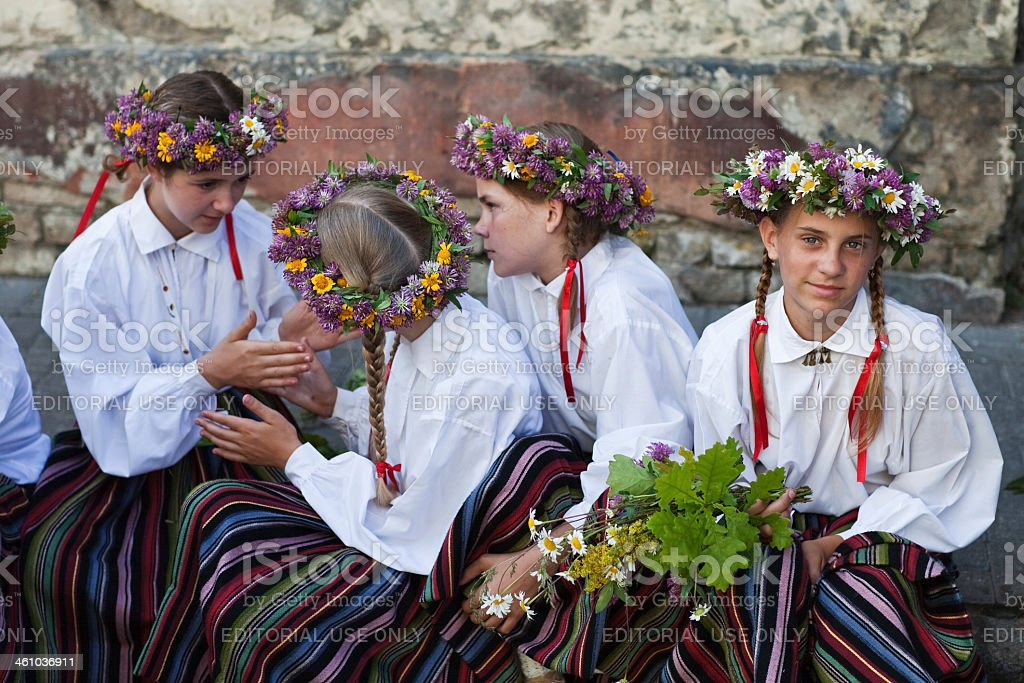 Participants of the festival stock photo