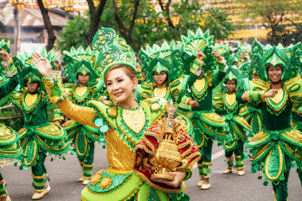 Participate in the parade at the Sinulog Festival. stock photo