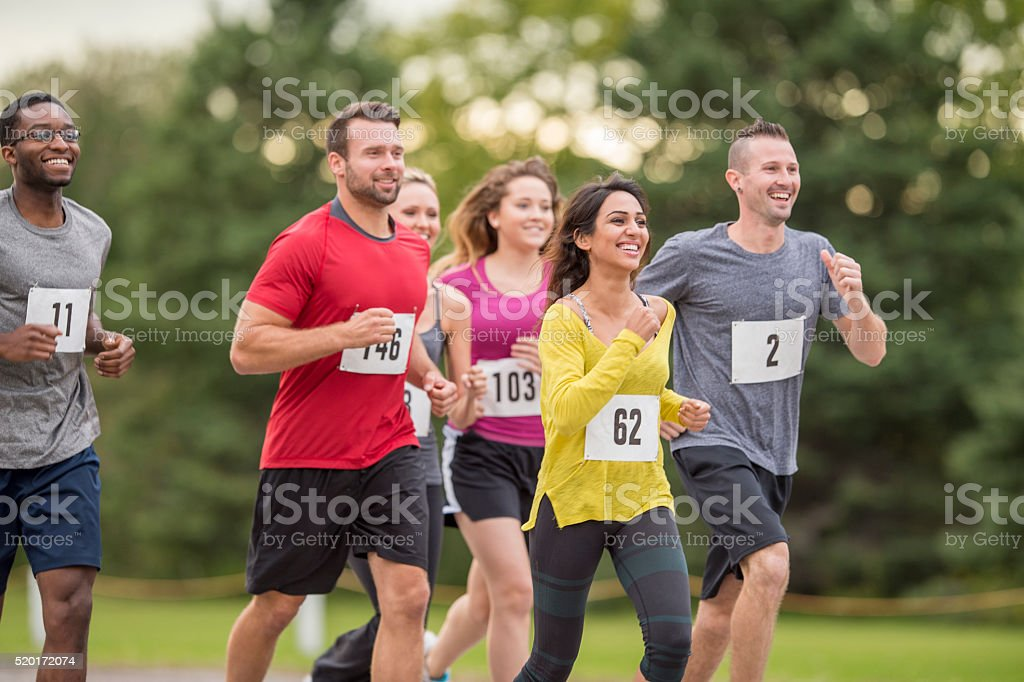 Participating in a 5K stock photo