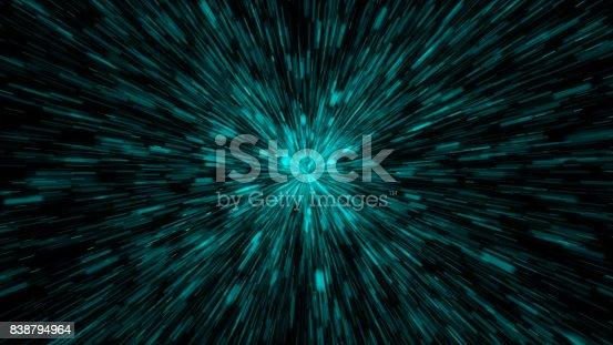 istock Particle or space traveling. Particle zoom background 838794964