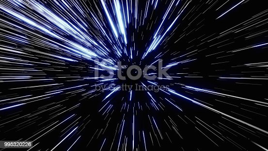istock Particle or space traveling. Particle zoom background 995320226