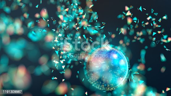 Many glowing particles flying around a blue sphere