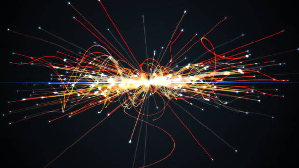 Particles collision in Hadron Collider. Astrophysics concept. 3D rendered illustration. Particles collision in Hadron Collider. Astrophysics concept. 3D rendered illustration. large hadron collider stock pictures, royalty-free photos & images
