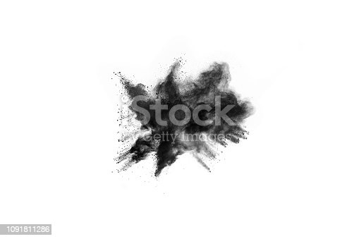 istock particles of charcoal on white background,abstract powder splatted on white background,Freeze motion of black powder exploding or throwing black powder. 1091811286