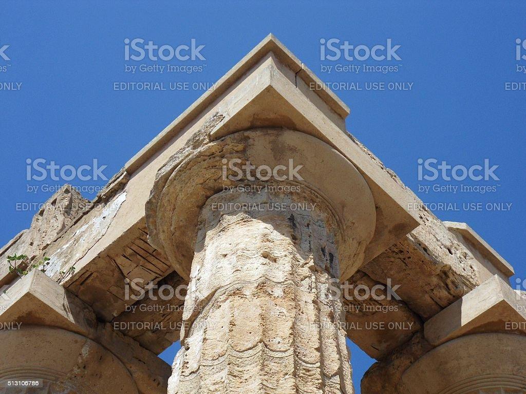 Particolare del capitello dorico stock photo