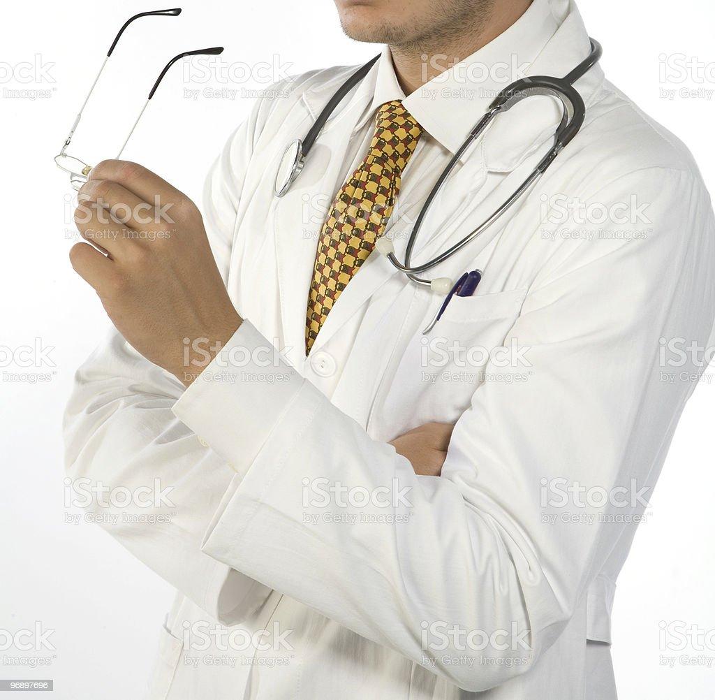 particolare di dottore con occhiali in mano royalty-free stock photo