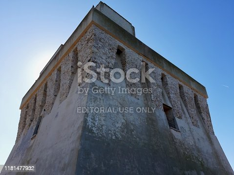 Torre Mileto, Puglia, Italy - October 6, 2019: Coastal defensive tower of the sixteenth century