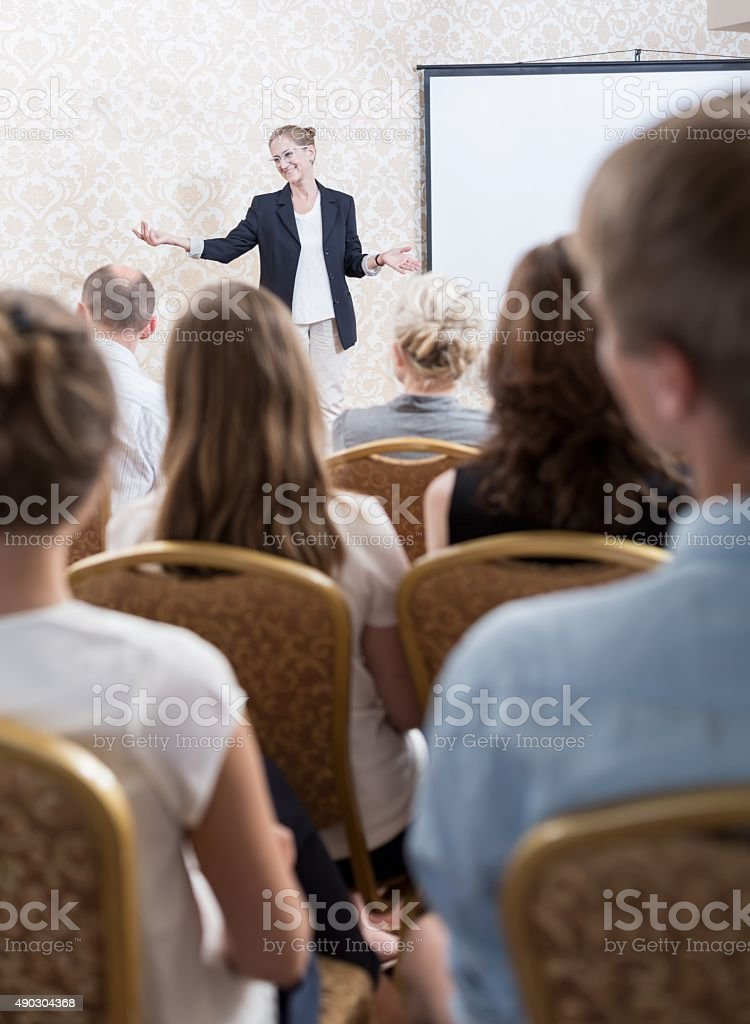Particpants of conference stock photo