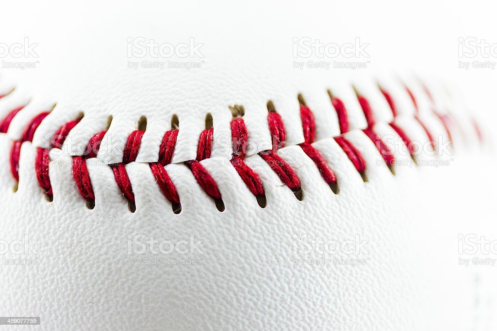 Particular of a baseball ball stock photo