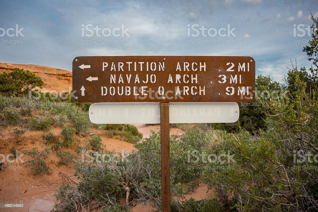 Partition and Navajo Arch Sign stock photo