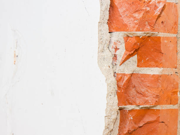 Partition brick wall in an old italian building - image with copy space stock photo