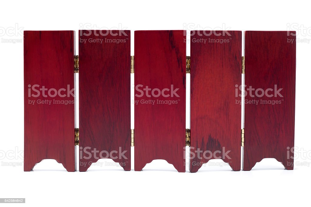 Partition screen wall wood asian old oriental style with gold stock photo