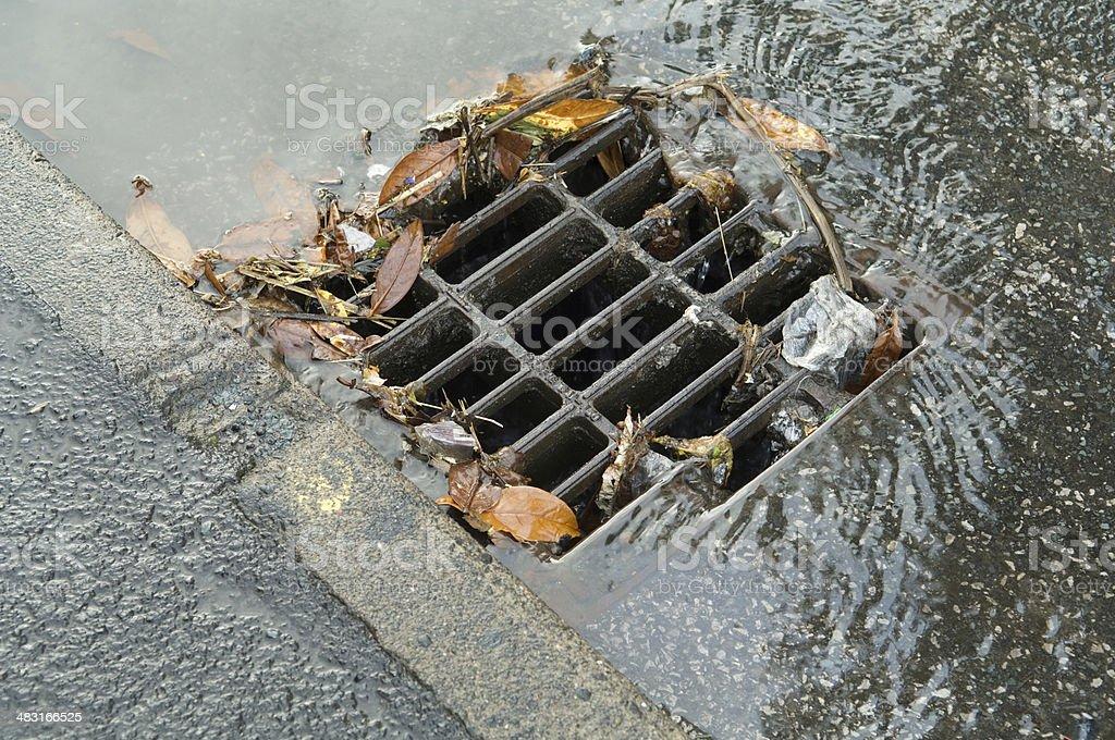 Partly blocked storm drain stock photo