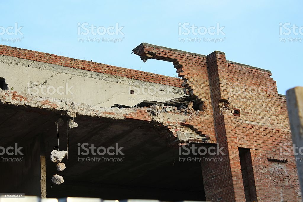 Partly destroyed building brick wall royalty-free stock photo