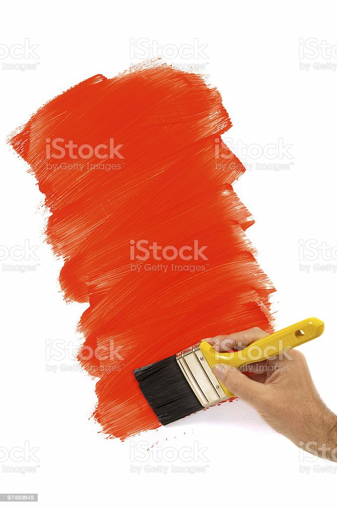 Partly painted red wall royalty-free stock photo