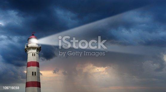 Ship sea lighthouse storm