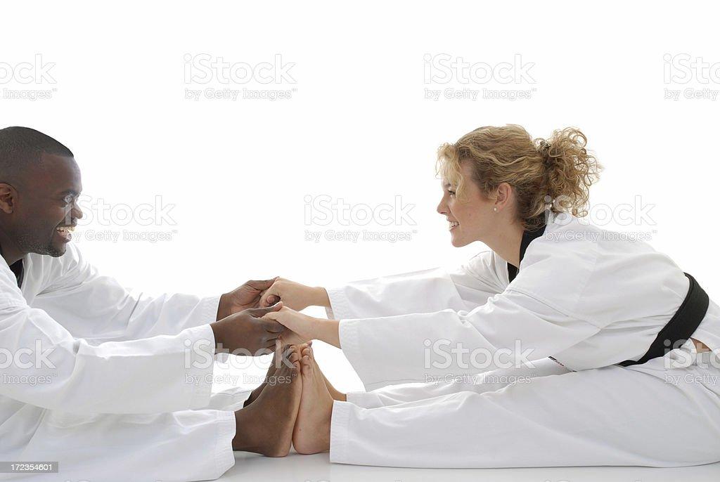 Partner hamstring stretch stock photo