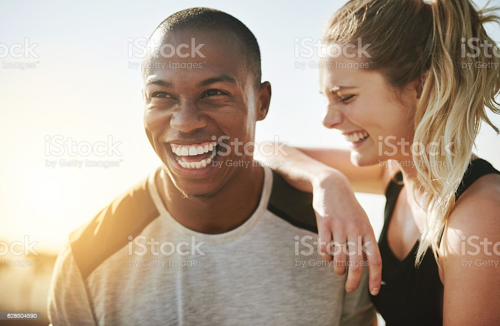 Partners in life and fitness stock photo