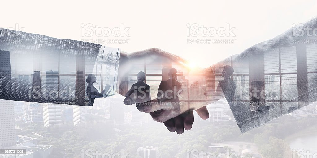 Partners shaking hands . Mixed media - foto stock