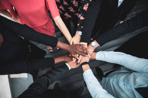 Partnership and teamwork is the key to the success stock photo