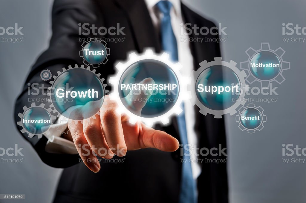 Partnership Concept Solution on Visual Screen stock photo