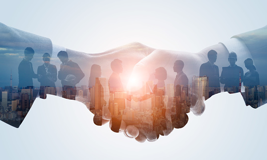 Partnership of business concept. Business network.