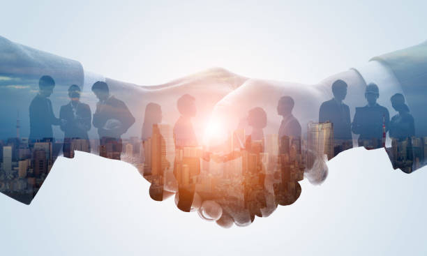 Partnership of business concept. Business network. stock photo