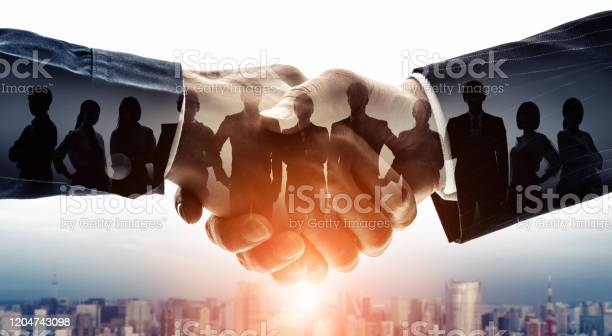 Partnership Of Business Concept Group Of Businessperson Customer Support Teamwork Stock Photo - Download Image Now