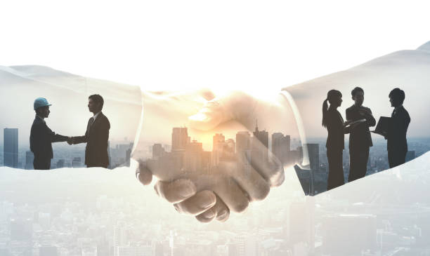 partnership of business concept. - handshake stock pictures, royalty-free photos & images