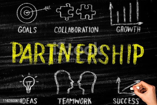Partnership concept on blackboard