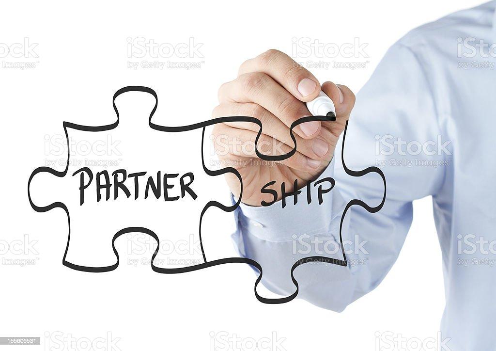 Partnership puzzle concept stock photo