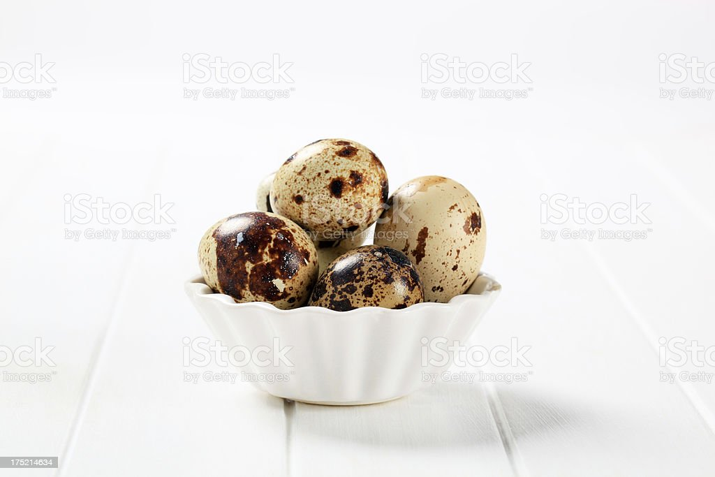 Partridge eggs on a white background royalty-free stock photo