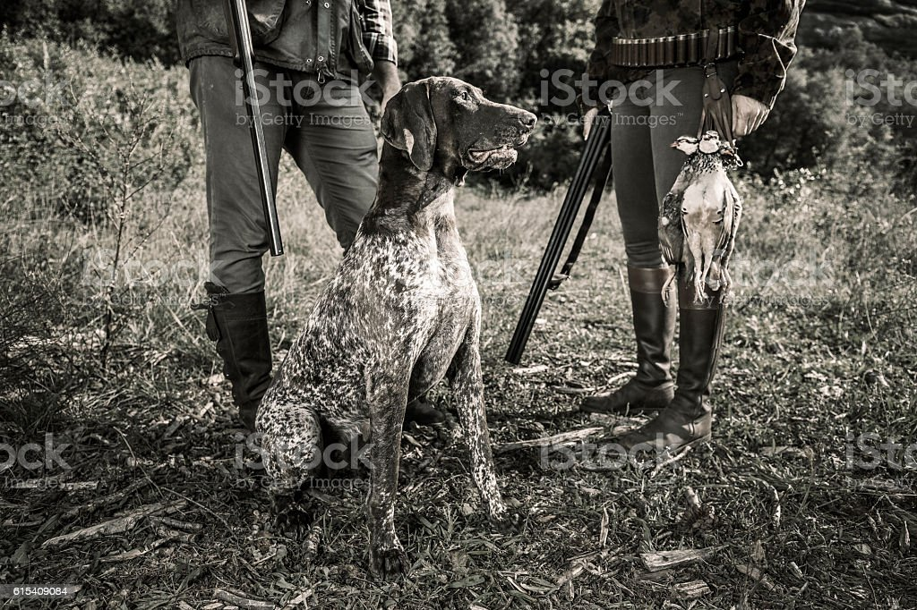 Partridge hunters with dog stock photo