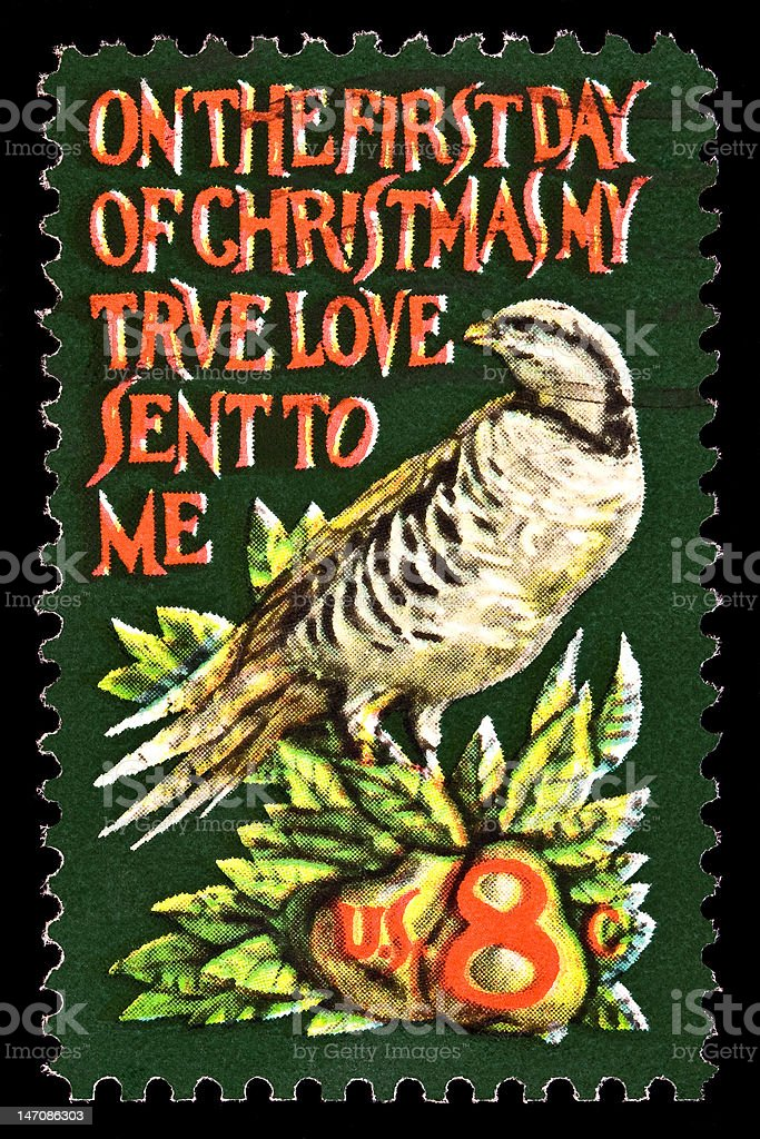 Partridge in a Pear Tree Christmas Stamp royalty-free stock photo