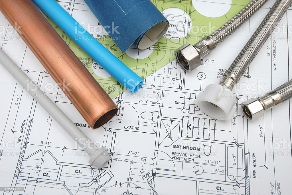 Parts and documents related to plumbing royalty-free stock photo