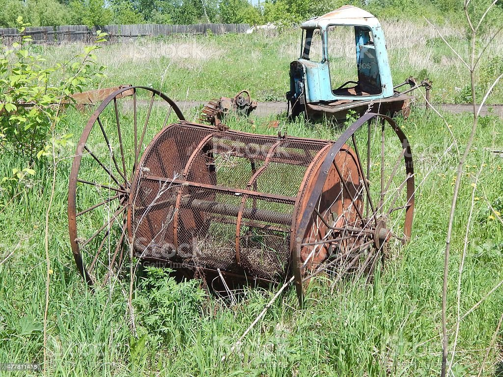 parts are destroyed farm machinery stock photo