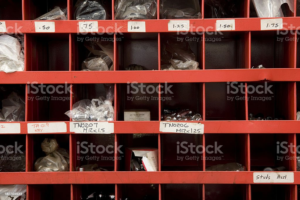 Parts bins and rack royalty-free stock photo